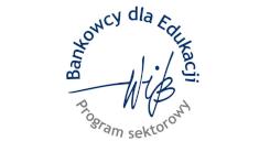 Obraz przedsawia napis w kolorze niebieskim Bankowcy dla Edukacji oraz napis w kolorze szarym Program sektorowy na obrysie okęgu