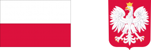 Po lewej stronie widoczna biało-czerwona flaga Rzeczypospolitej Polskiej a poprawej stronie godło państwowe Rzeczypospolitej Polskiej, biały orzeł w złotej koronie na czerwonym tle.