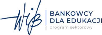Obraz przedsawia napis w kolorze niebieskim Bankowcy dla Edukacji a pod spodem napis w kolorze szarym Program sektorowy