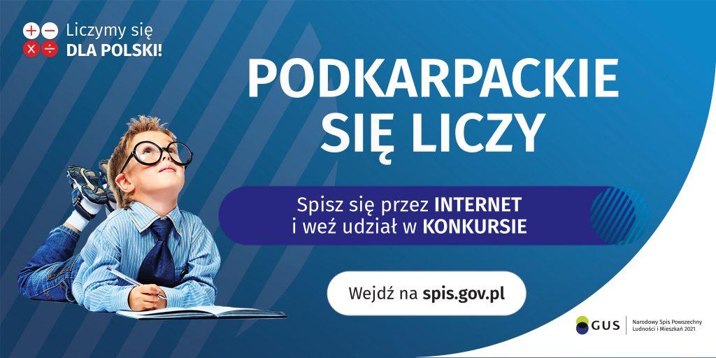 Tło obrazu w kolorze niebieski, na obrazie leżący chłopiec w okularach, i napis Podkaprackie sie liczy Spisz się przez internet i weź udział w konkursie. Wejdź na spis.gov.pl