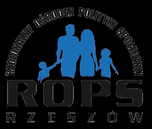 Na środku obrazu formy przypominające rodzinę w kolorze niebieskim, na górze na obrysie półkola czarny napis Regionalny Ośrodek Polityki Społecznej, na dole czarny napis ROPS RZESZÓW