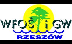 Białe literki z cieniem WFOŚiGW pod spodem niebieski napis Rzeszów na śroku żółte kółko z zielonym symbolem przypominającym drzewo